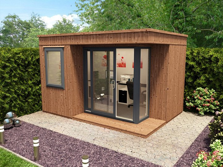Log cabins summerhouses m d group for Contemporary garden office buildings